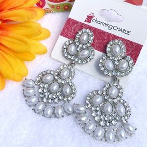 Boho Earrings Drop Pearls & Bling Silvertone Post